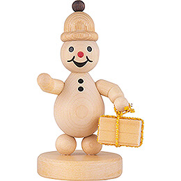 "Snowman  -  Junior ""with Gift""  -  8cm / 3.1 inch"