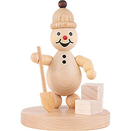 "Snowman  -  Junior ""with shovel at igloo construction""  -  9cm / 3.5 inch"