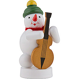 Snowman Musician with Bass Violin  -  8cm / 3 inch