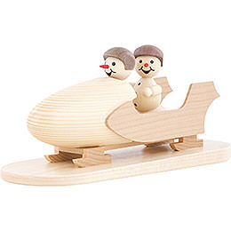 Snowman Two - Man Bobsled with Helmet  -  10cm / 3.9 inch