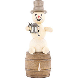 Snowman with Stein on Beer Barrel  -  13cm / 5.1 inch