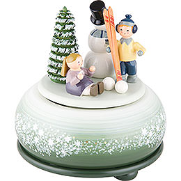 Spieldose Winterfreuden Ski  -  14cm