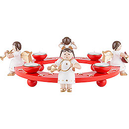 Tea Light Wreath  -  Angel Foursome  -  Red  -  12cm / 4.7 inch