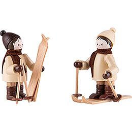 Thiel Figurine  -  Children with Ski  -  natural  -  Set of Two  -  5,5cm / 2.2 inch
