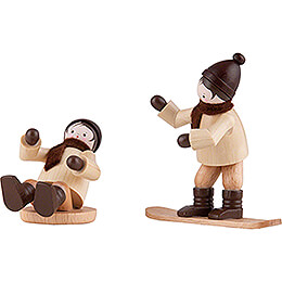 Thiel Figurine  -  Children with Snowboard and Slider  -  6cm / 2.4 inch