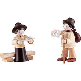 Thiel Figurine  -  Hiker Couple  -  natural  -  6cm / 2.4 inch
