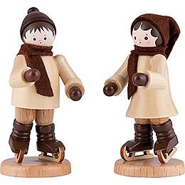 Thiel Figurine  -  Ice Skate Children Couple  -  natural  -  7cm / 2.8 inch