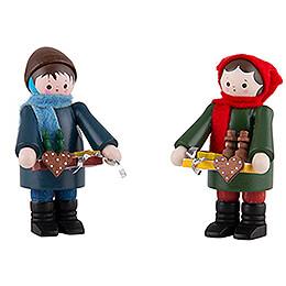 Thiel Figurines  -  Striezel Children  -  coloured  -  Set of Two  -  6cm / 2.4 inch