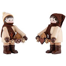 Thiel Figurines  -  Striezel Children  -  natural  -  Set of Two  -  6cm / 2.4 inch