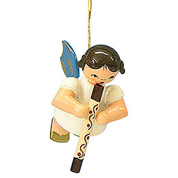 Tree Ornament  -  Angel with Didgeridoo  -  Blue Wings  -  Floating  -  5,5cm / 2,1 inch