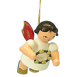 Tree Ornament  -  Angel with Jingle Ring  -  Red Wings  -  Floating  -  5,5cm / 2,1 inch