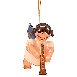 Tree Ornament  -  Angel with Oboe  -  Blue Wings  -  Floating  -  5,5cm / 2,1 inch