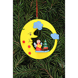 Tree Ornament  -  Angel with Tree in Moon  -  8,3x7,9cm / 3.3x3.1 inch