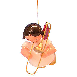 Tree Ornament  -  Angel with Trombone  -  Red Wings  -  Floating  -  5,5cm / 2,1 inch