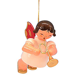 Tree Ornament  -  Angel with Trumpet  -  Red Wings  -  Floating  -  5,5cm / 2,1 inch
