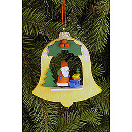 Tree Ornament  -  Bell with Santa Claus  -  7,1x7,9cm / 2.8x3.1 inch