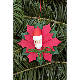 Tree Ornament  -  Christmas Star with Santa Claus  -  6,5x6,5cm / 2.5x2.5 inch