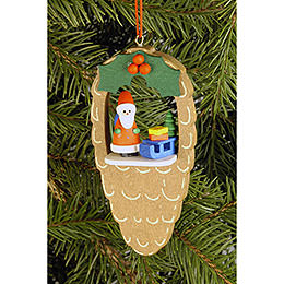 Tree Ornament  -  Cone with Santa Claus  -  4,4x8,8cm / 1.7x3.5 inch