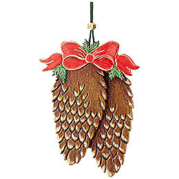 Tree Ornament  -  Cones with Bow  -  10cm / 3,9 inch