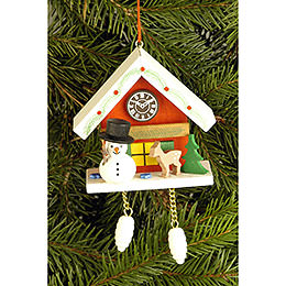 Tree Ornament  -  Cuckoo Clock Red with Snowman  -  6,7x6,3cm / 2.6x2.5 inch