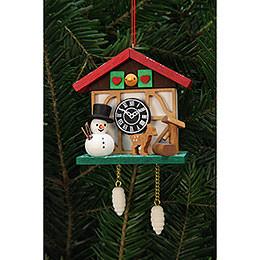 Tree Ornament  -  Cuckoo Clock Snowman with Well  -  7,0x6,7cm / 3x3 inch