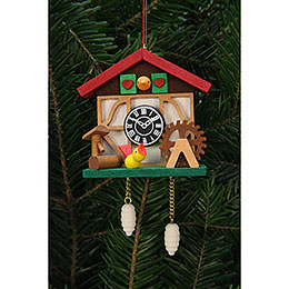 Tree Ornament  -  Cuckooo Clock with Little Bird  -  7,0x6,7cm / 3x3 inch