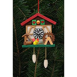 Tree Ornament  -  Cuckooo Clock with Little Bird  -  7,0x6,7cm / 3x3 inch