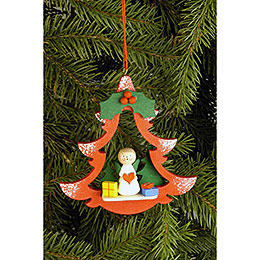 Tree Ornament  -  Fir Tree with Angel  -  8,5x8,7cm / 3.3x3.4 inch