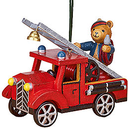 Tree Ornament  -  Fire Truck with Teddy  -  8cm / 3 inch