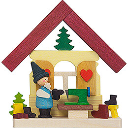 Tree Ornament  -  House Dwarf with Sewing Machine  -  7,4cm / 2.9 inch