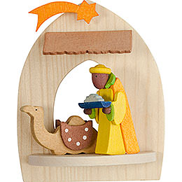Tree Ornament  -  Nativity with Caspar, Natural  -  8,5cm / 3.3 inch
