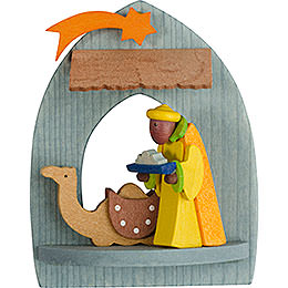 Tree Ornament  -  Nativity with Caspar, Pickled  -  8,5cm / 3.3 inch