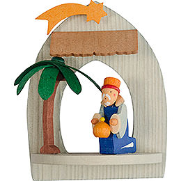 Tree Ornament  -  Nativity with Melchior, Pickled  -  8,5cm / 3.3 inch