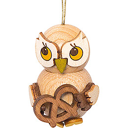 Tree Ornament  -  Owl Child with Pretzel  -  4cm / 1.6 inch