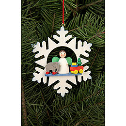 Tree Ornament  -  Snowflake Angel with Toys  -  9,0x9,0cm / 3.5x3.5 inch