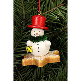 Tree Ornament  -  Snowman  on Ginger Bread Star  -  5,2x5,6cm / 2x2 inch