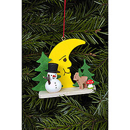 Tree Ornament  -  Snowman with Bambi and Moon  -  5,5cm / 2.2 inch