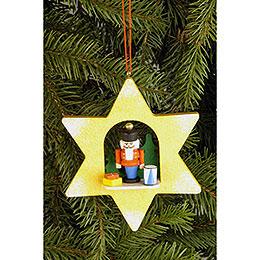 Tree Ornament  -  Star with Nutcracker  -  9,5x9,5cm / 3.7x3.7 inch