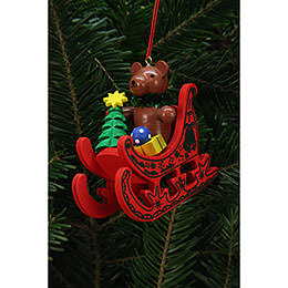 Tree Ornament  -  Teddy in Sleigh  -  7,5x7,1cm / 3x3 inch