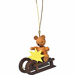 "Tree Ornament  -  ""Teddy on Sleigh""  -  4cm / 1.6 inch"