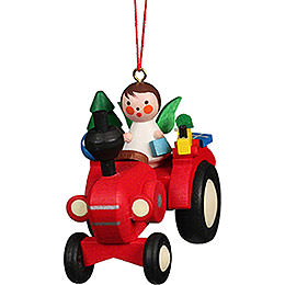 Tree Ornament Tractor with Angel  -  5,7x5,1cm / 2.3x2.0 inch
