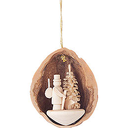 Tree Ornament  -  Walnut Shell with Forester  -  4,5cm / 1.8 inch