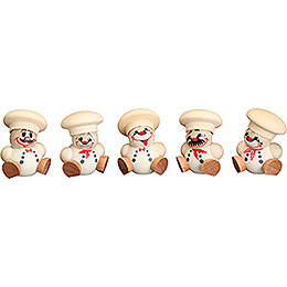 Tree Ornaments  -  Ball Figures Chef  -  5 pcs.  -  4cm / 1.6 inch