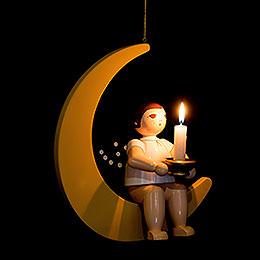 Weihnachtsengel auf Mond mit Tülle für Kerze oder Lumix LED  -  30cm
