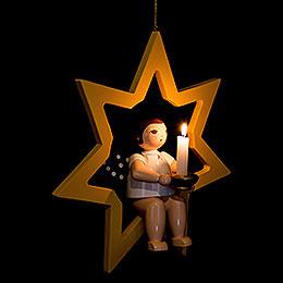 Weihnachtsengel im Stern mit Tülle für Kerze oder Lumix LED  -  38cm