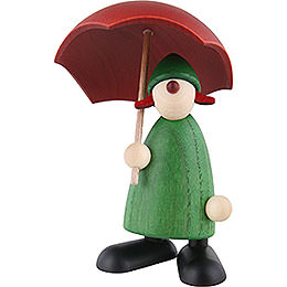 Well - Wisher Louise with Umbrella, Green  -  9cm / 3.5 inch