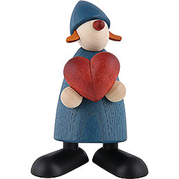 Well - Wisher Thea with Heart, Blue  -  9cm / 3.5 inch