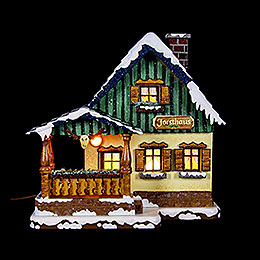Winter Children Forest House Illuminated  -  15cm / 6 inch