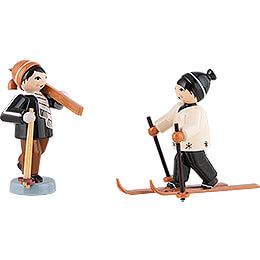 Winter Children Skiers  -  2 pcs.  -  brown  -  7cm / 2.8 inch