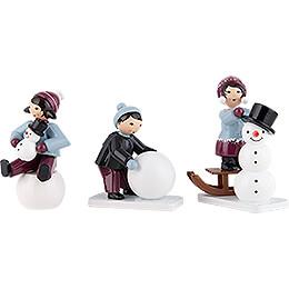Winter Children Snowman Builders  -  3 pcs.  -  purple  -  7cm / 2.8 inch